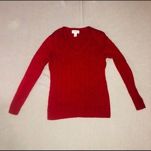 Ann Taylor Loft Red Cable Knit V Neck Sweater